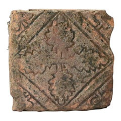 Medieval Tile Relief Type with Oak Leaves 14th Century England