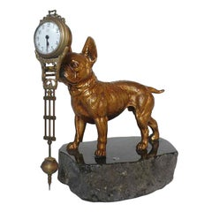 1900 France, Pendulum Clock Depicting a French Bulldog