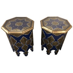 Pair of Moroccan Silver Metal Brass Inlaid Side Tables in Blue Majorelle
