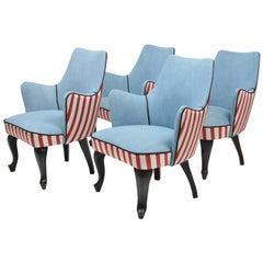 Set of 4 Italian Small Side Chairs Made of Ebonized Wood, circa 1940