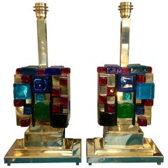 Pair of Brass Table Lamps with Multicolored Murano Glass Cubes, 1980s