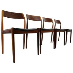Set of 4 Danish Rosewood and Black Vinyl Chairs by Niels Otto Møller, 1960s