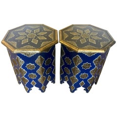 Pair of Moroccan Silver Metal and Brass Inlaid Side Tables in Blue Majorelle
