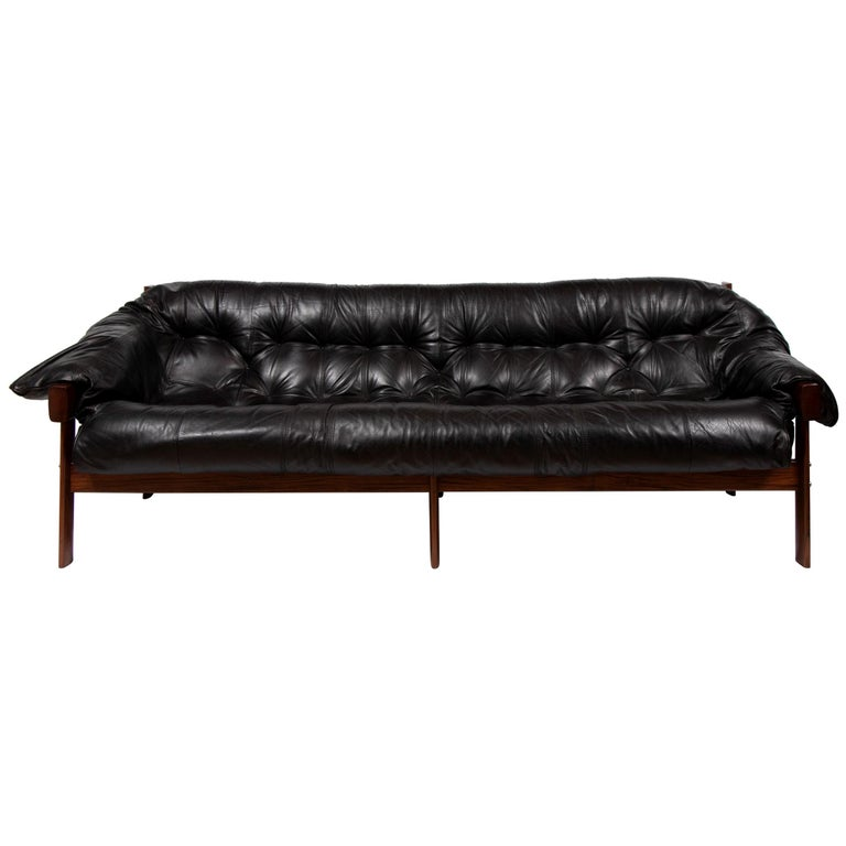 Percival Lafer Rosewood And Distressed Tufted Yellow: Brazilian Leather Tufted Sofa By Percival Lafer, Circa