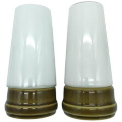 Vintage Ifö of Sweden Ceramic Bathroom Lamps with Opaline Shades from the 1960s