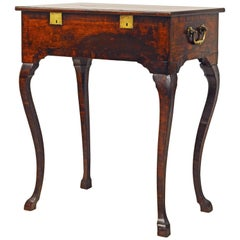 18th Century Spanish Lift Top Inlaid Walnut Compartment Side Table