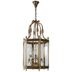 Large Antique Georgian Polished Brass Lantern with Clear Glass Panels circa 1950