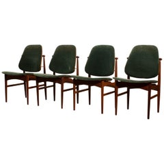 1950s, Set of Four Teak Dining Chairs by Arne Vodder for France & Daverkosen