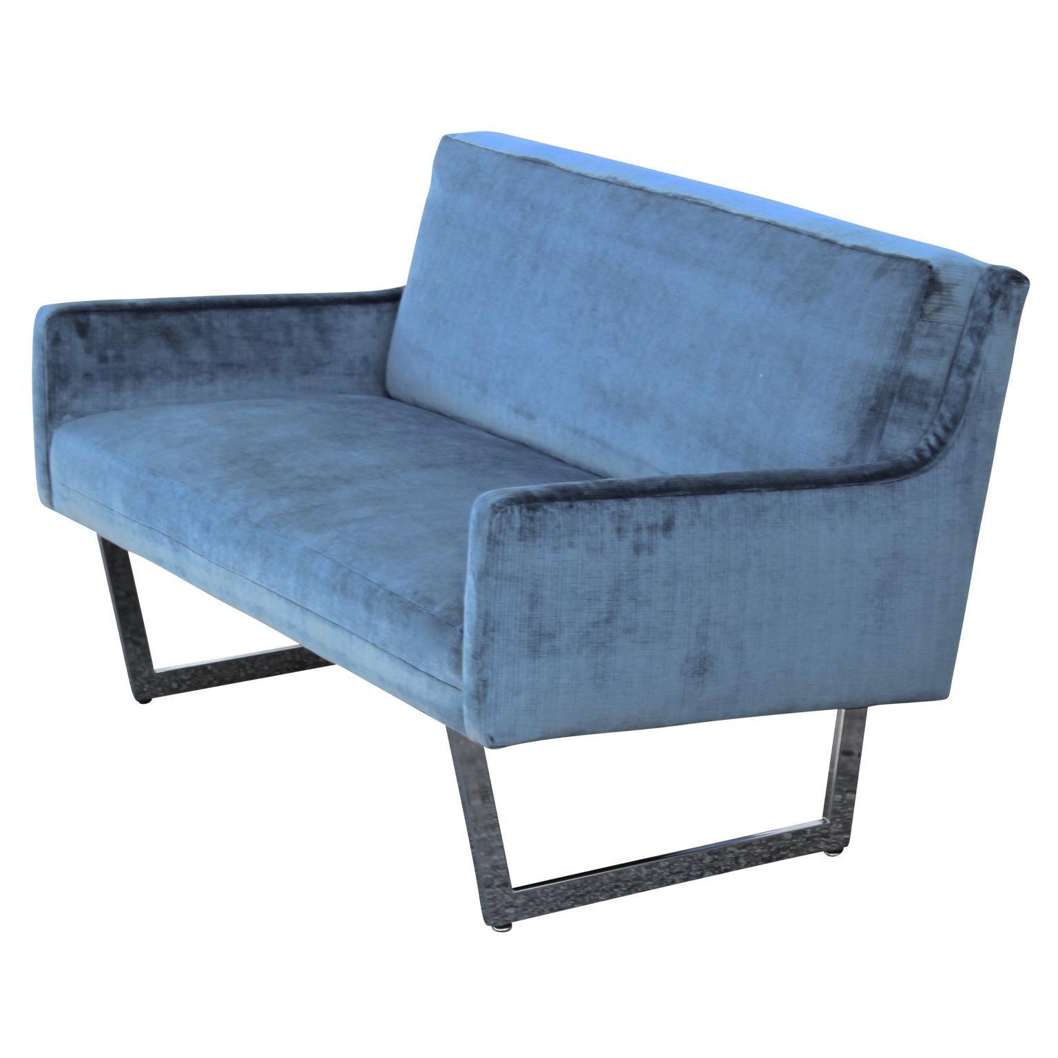 Light Blue Velvet Loveseat Or Settee With Chrome Legs