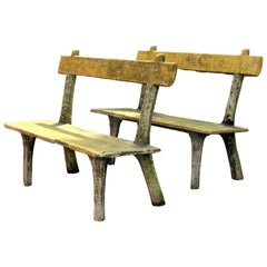 Pair of Antique Faux Bois Garden Benches
