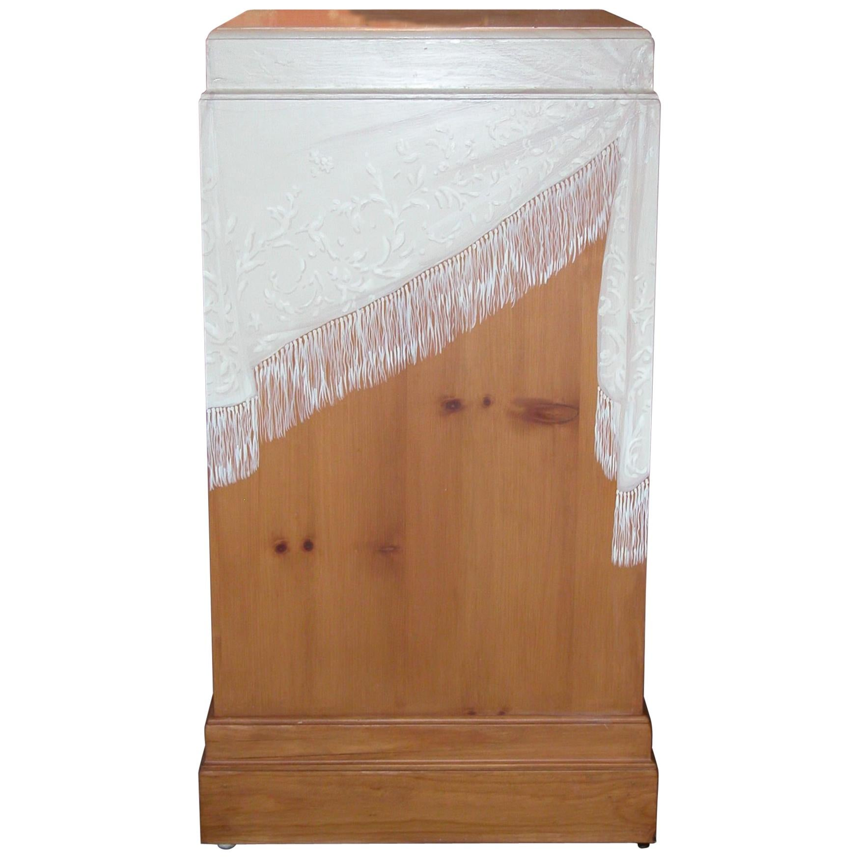 Pair Knotty Pine Square Pedestals with Custom Painted Scarf Designs
