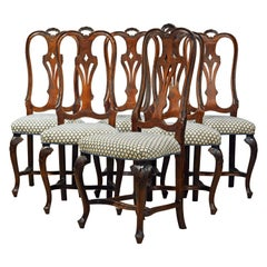 Six 18th Century Italian Provincial Louis XV Style Carved Walnut Dining Chairs