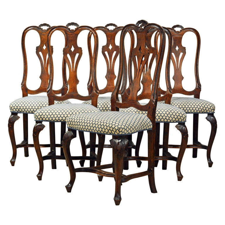 Six 18th Century Italian Provincial Louis XV Style Carved Walnut Dining Chairs For Sale