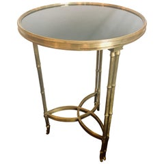 Art Deco Bamboo Form Marble-Top Side or Lamp Table Pedestal