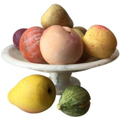 Collection of 19th Century Italian Carved Marble Fruit in a Marble Tazza