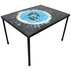Small Belarti 1960s Ceramic Art Tile Side Table by Juliette Belarti
