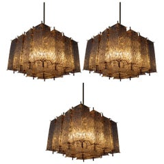 Large Midcentury Chandeliers in Structured Glass and Brass from Europe