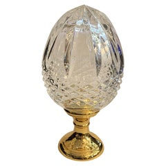 Wonderful Crystal Acorn Cut Faceted Glass Brass Banister Newel Post Finial