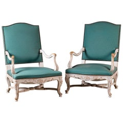 Pair Louis XV Régence Vintage French Painted Arm Chairs Fauteuils, circa 1920