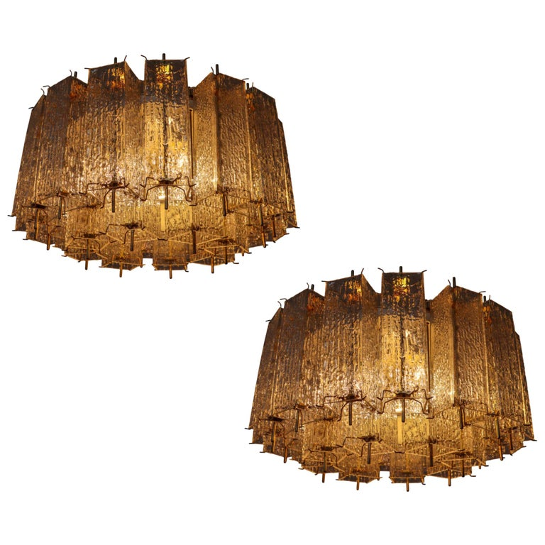 Set of Two Large Midcentury Chandeliers with Ice Glass Tubes in Brass Fixture For Sale