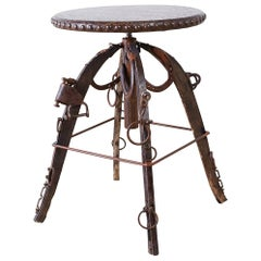 Rustic Americana Folk Art Iron Leather Bar Stool