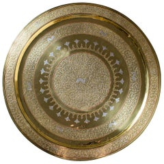 Vintage Persian Heavy Round Brass Tin Copper Mixed Metal Tray, circa 1940