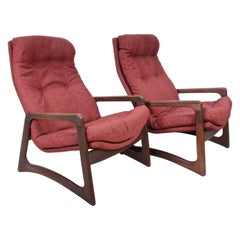 Pair of Adrian Pearsall for Craft Associates Walnut & Woven Wool Lounge Chairs
