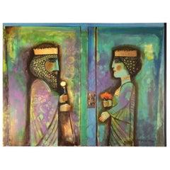 """Nasser Ovissi, (Iranian, Born 1934) """"Darius and Atossa"""" Oil on Canvas Painting"""