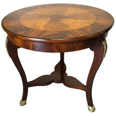 Very Beautiful Baker Flame Mahogany and Burl Round Side Table