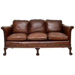 Antique Swedish Leather and Mahogany Sofa
