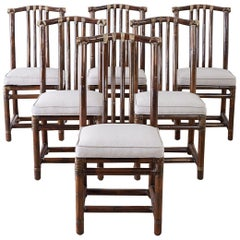 Set of Six McGuire Bamboo Rattan Linen Dining Chairs