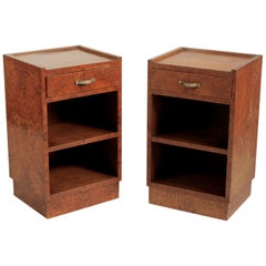 Georges Champion Pair of French Modernist Amboyna Side Tables/Nightstands