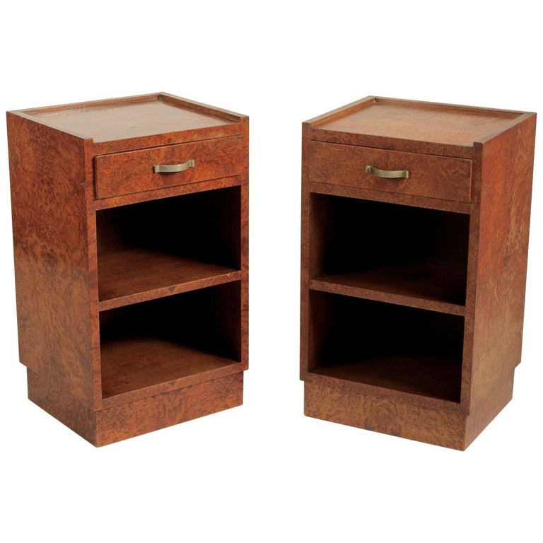 Georges Champion Pair of French Modernist Amboyna Side Tables/Nightstands For Sale