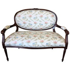 Classic Fruitwood Loveseat by Henredon with Lovely Floral Upholstery