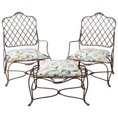 Pair of Iron Faux Bois Garden Lounge Chairs with Ottoman