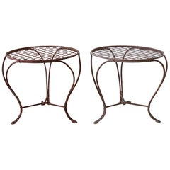 Pair of Patinated Iron Faux Bois Drink Tables