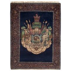 Antique Kermanshah Pictorial Crown Rug, circa 1930-1940