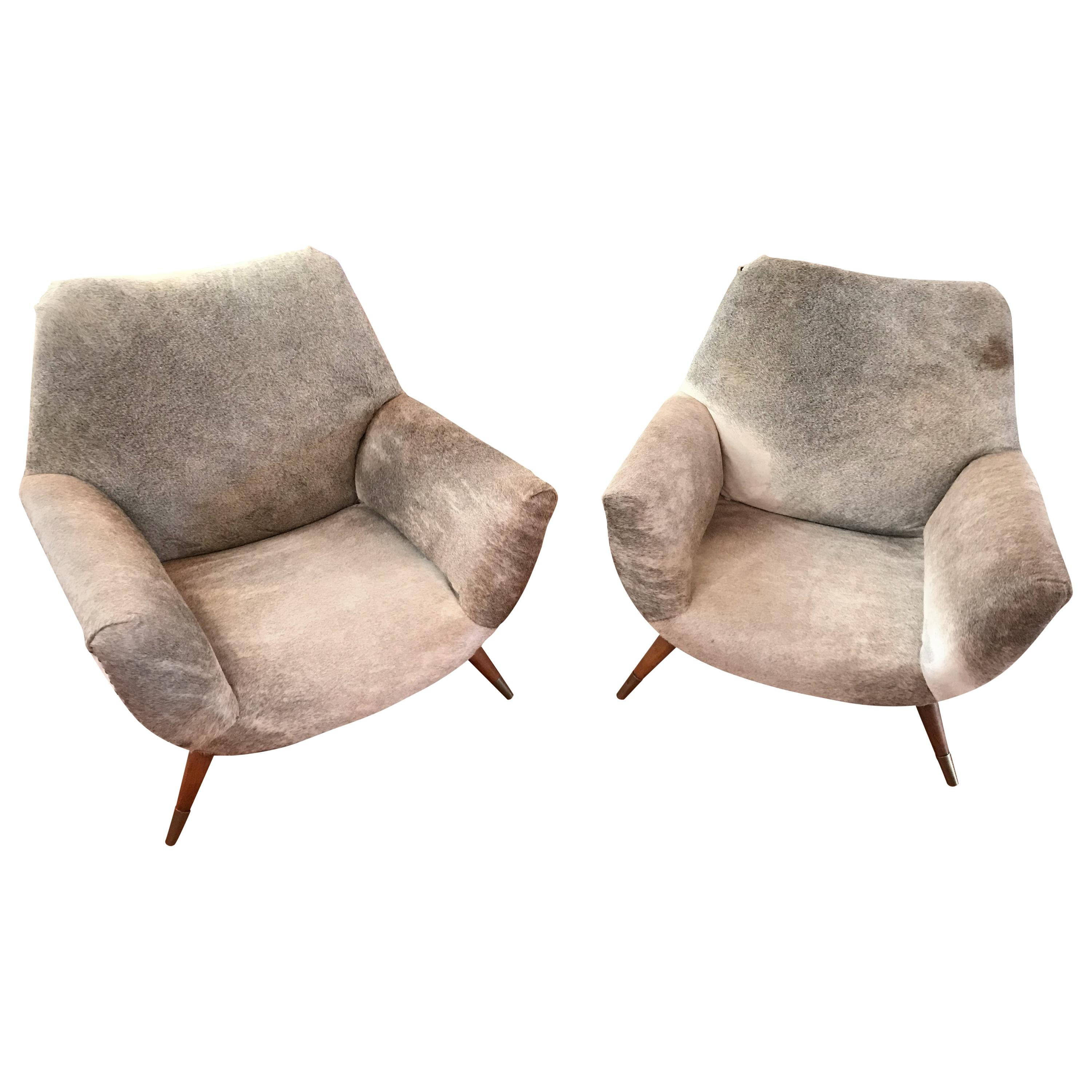 Pair Of Italian Mid Century Modern Club Chairs Covered In Cowhide