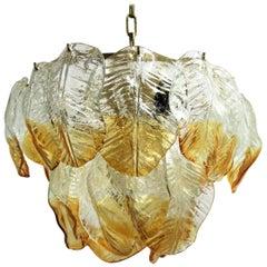 Murano glass leaf chandelier by Mazzega, 1960s