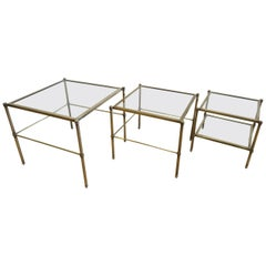 French Midcentury Brass and Glass Nesting Tables