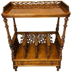 Carved Burl and Inlaid Rho Mobili Canterbury Magazine Rack with Single Drawer