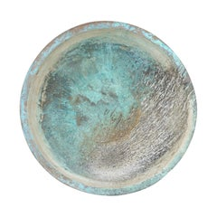 Antique Copper Bowl from Spain with Rich Blue-Green Patina