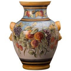 Huge Vintage Italian Hand Painted Terra Cotta Urn Vase by Solimene Vietri, Italy