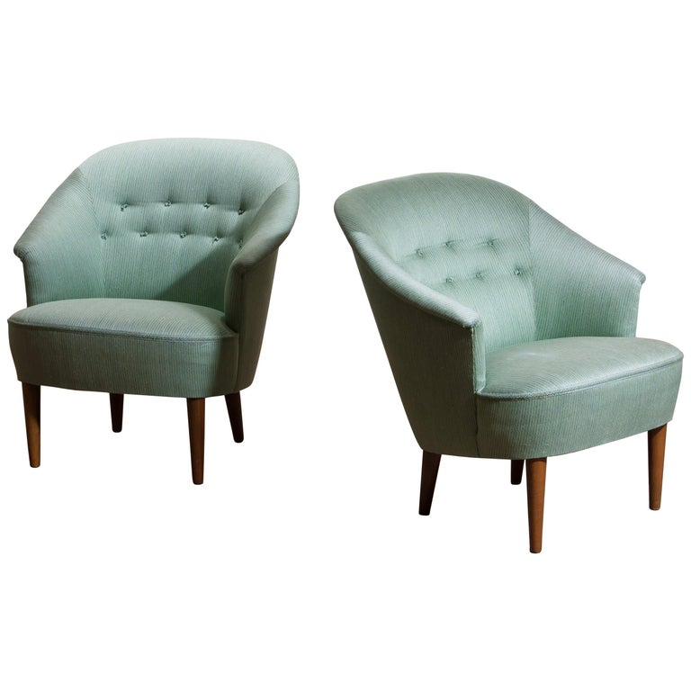 """1950s Pair of """"Lillasyster"""" Lounge or Easy Chairs by Carl Malmsten, Sweden For Sale"""