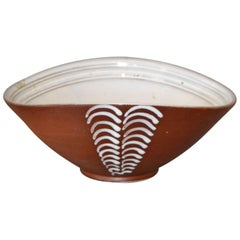 Vintage Scandinavian Modern Art Pottery Decorative Bowl in Brown & White Norway