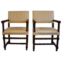 19th Century Dutch Colonial Ebonized Spindle Turned Wood Side Chairs, a Pair