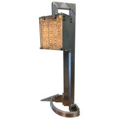 "Table Lamp ""Mr. Gleem"", Prototype Handmade Aluminum Lamp with Circuit Boards"