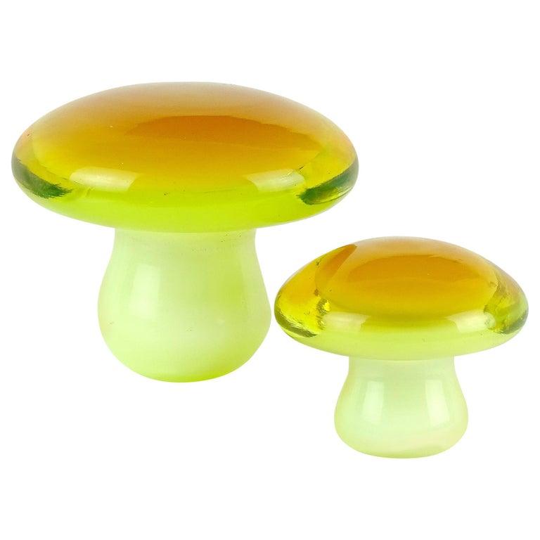 Murano Orange Yellow Italian Art Glass Mushroom Toadstool Paperweight Sculptures For Sale