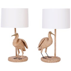 Folky Pair of Mario Lopez Torres Wicker Egret Table Lamps