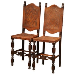 Pair of 19th Century Spanish Carved Walnut Bar Stools with Original Leather